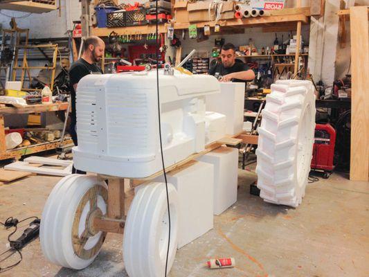 Foam Sculptures: Macy's Tractor Progress 3.jpg