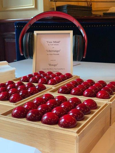 Gourmet Chocolate Tasting: Red chocolates and headphones.jpg