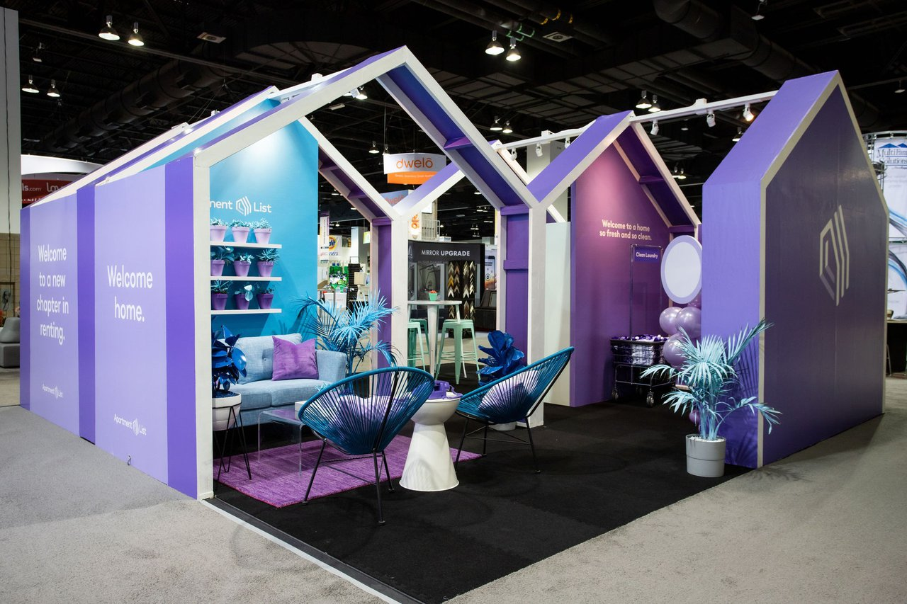 Apartment List x Trade Show Booth photo 19ALB_002 19ALB_001 - We used the shape of the new Apartment List logo to lead the entire space.jpg