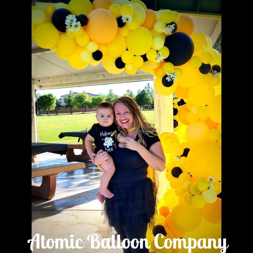 Hakim's First BEEday Celebration photo Atomic BEEday Birthday Balloon Decor 21.jpg