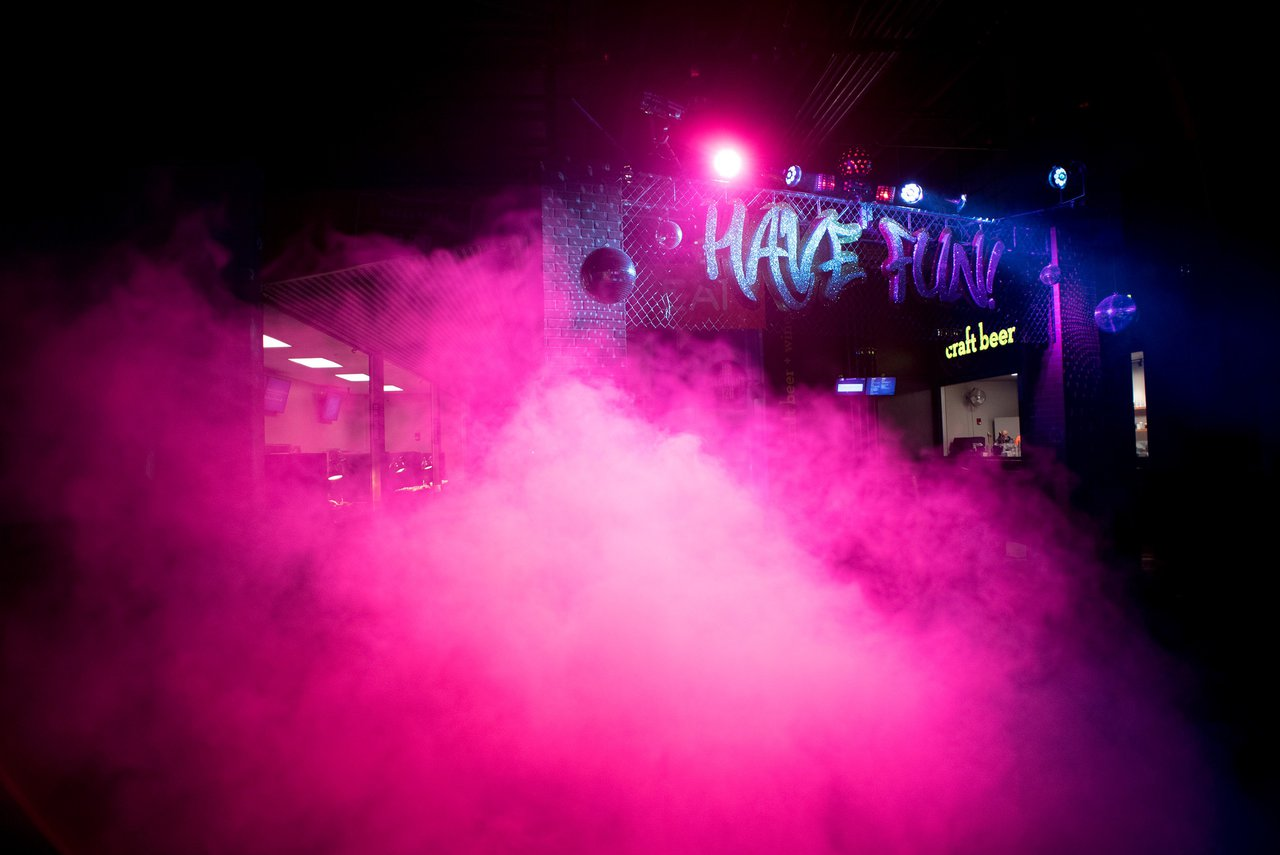 "Amazon Post Holiday Party, ""Flashback"" photo pink-smoke-fun-event.jpg"
