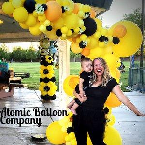 Hakim's First BEEday Celebration photo Atomic BEEday Birthday Balloon Decor.jpg