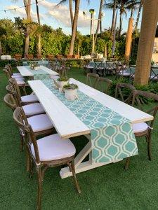 Seaside Soiree photo White Trestle Table with farm chairs, aqua honeycomb runner.jpg
