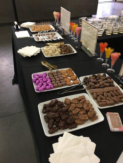 Gourmet Chocolate Tasting: Full table spread for ODLR.jpg