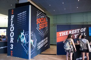 Social Suite + Social Stage photo social suite lobby check in vinyl desk and wall.jpg