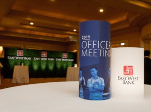 EW Officer Meeting photo Branded Centerpieces and Hedge for Business Meeting in Lobby.jpg