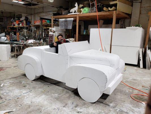 Foam Sculptures: Grease Car Sculpted Rough.jpg