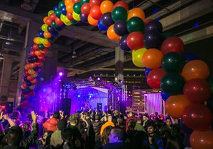 "Amazon Post Holiday Party, ""Flashback"" photo party-balloon-entrance.jpg"
