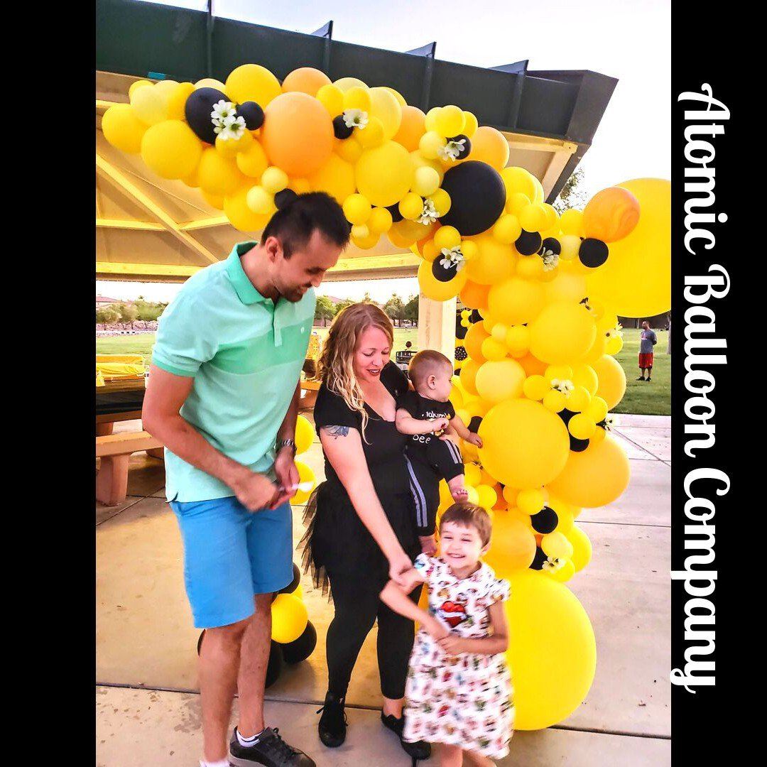Hakim's First BEEday Celebration photo Atomic BEEday Birthday Balloon Decor 22.jpg