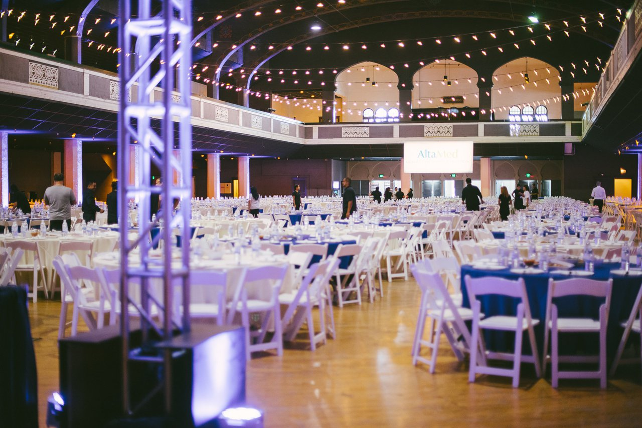 All-Hands Meeting for AltaMed photo Employee Luncheon with Tables, Chairs and Lighting.jpg