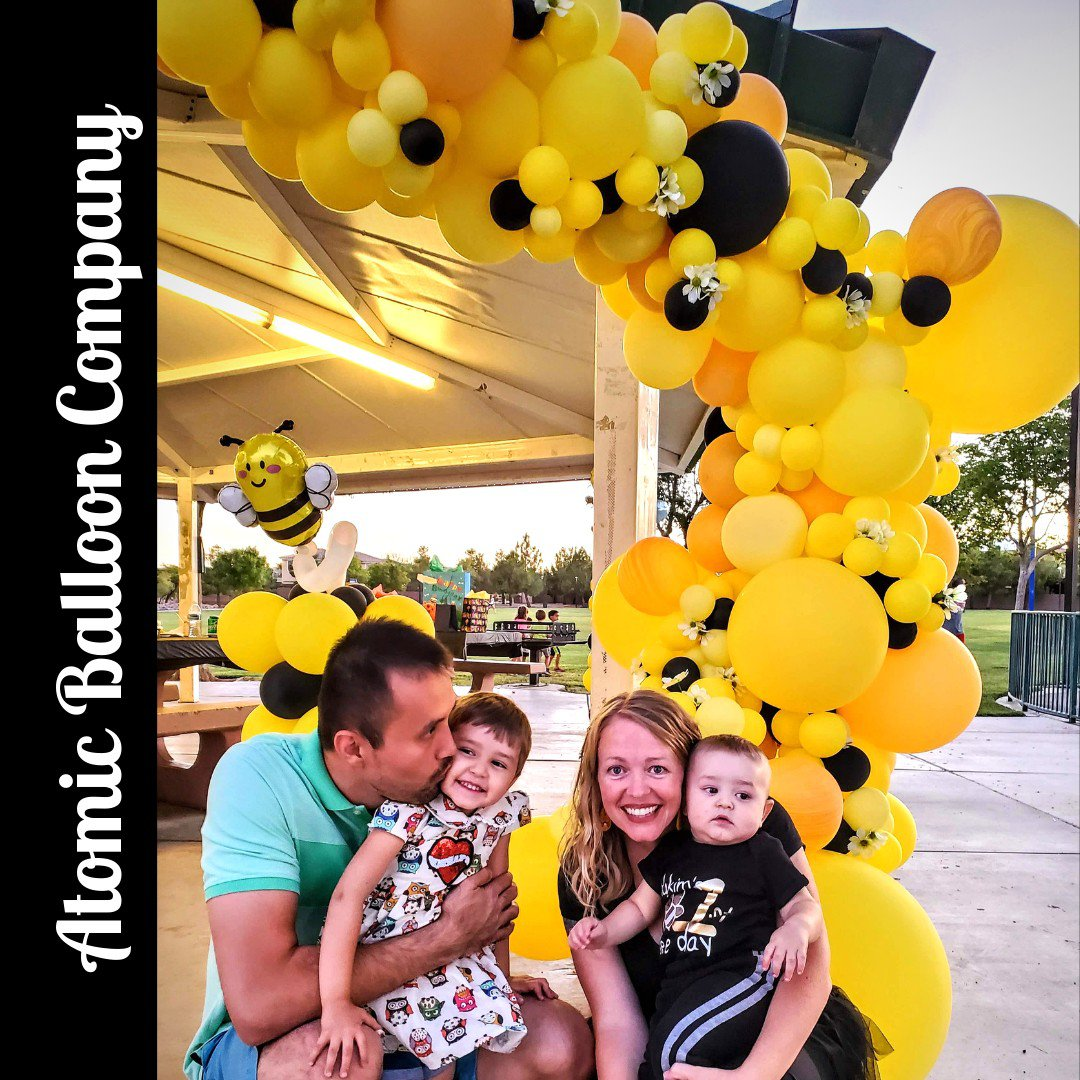 Hakim's First BEEday Celebration photo Atomic BEEday Birthday Balloon Decor 9.jpg