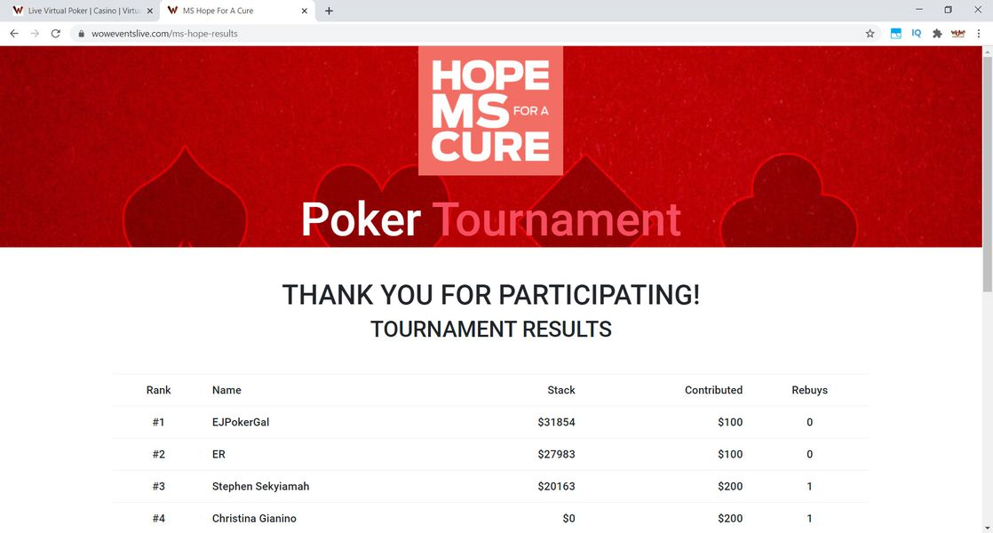 MS Hope for a Cure Virtual Poker