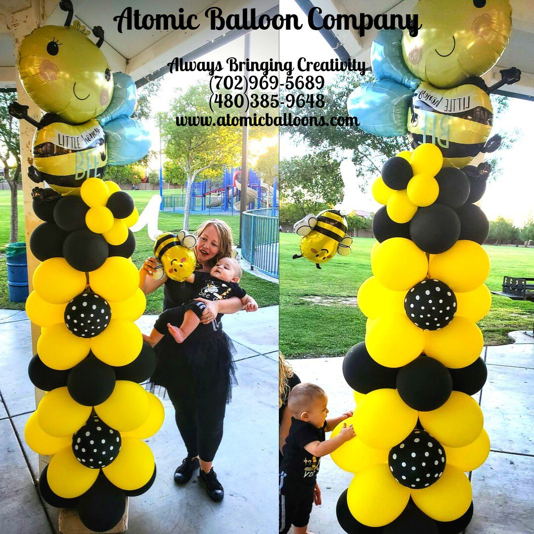 Hakim's First BEEday Celebration photo Atomic BEEday Birthday Balloon Decor 3.jpg
