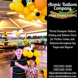 Hakim's First BEEday Celebration photo Atomic BEEday Birthday Balloon Decor 10.jpg