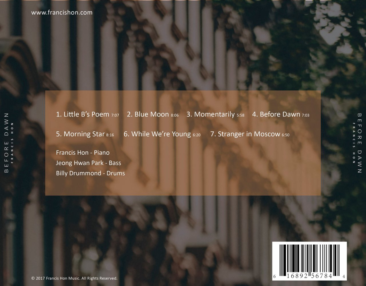 Before Dawn - Jazz Debut Album photo Before Dawn Back.jpg