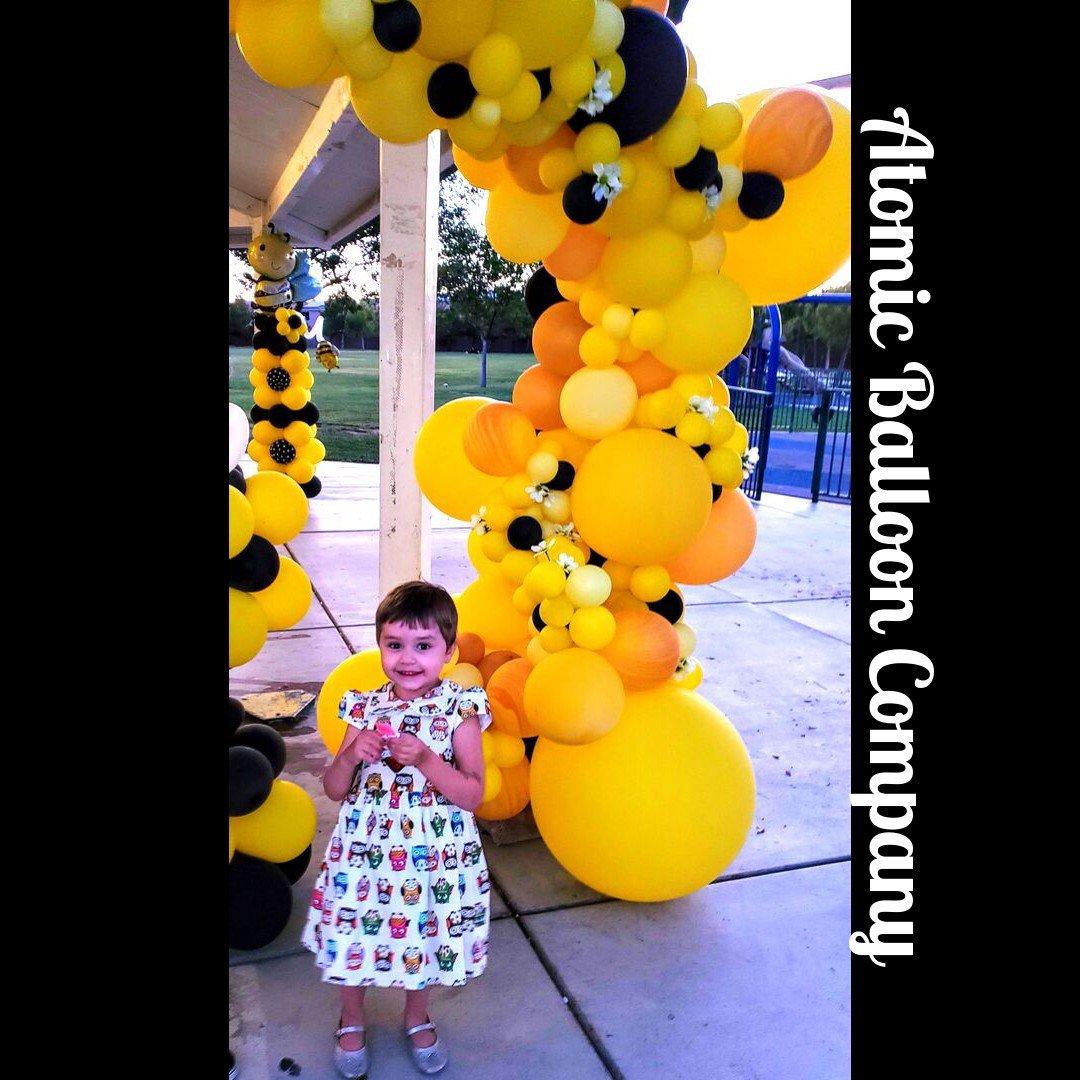 Hakim's First BEEday Celebration photo Atomic BEEday Birthday Balloon Decor 16.jpg