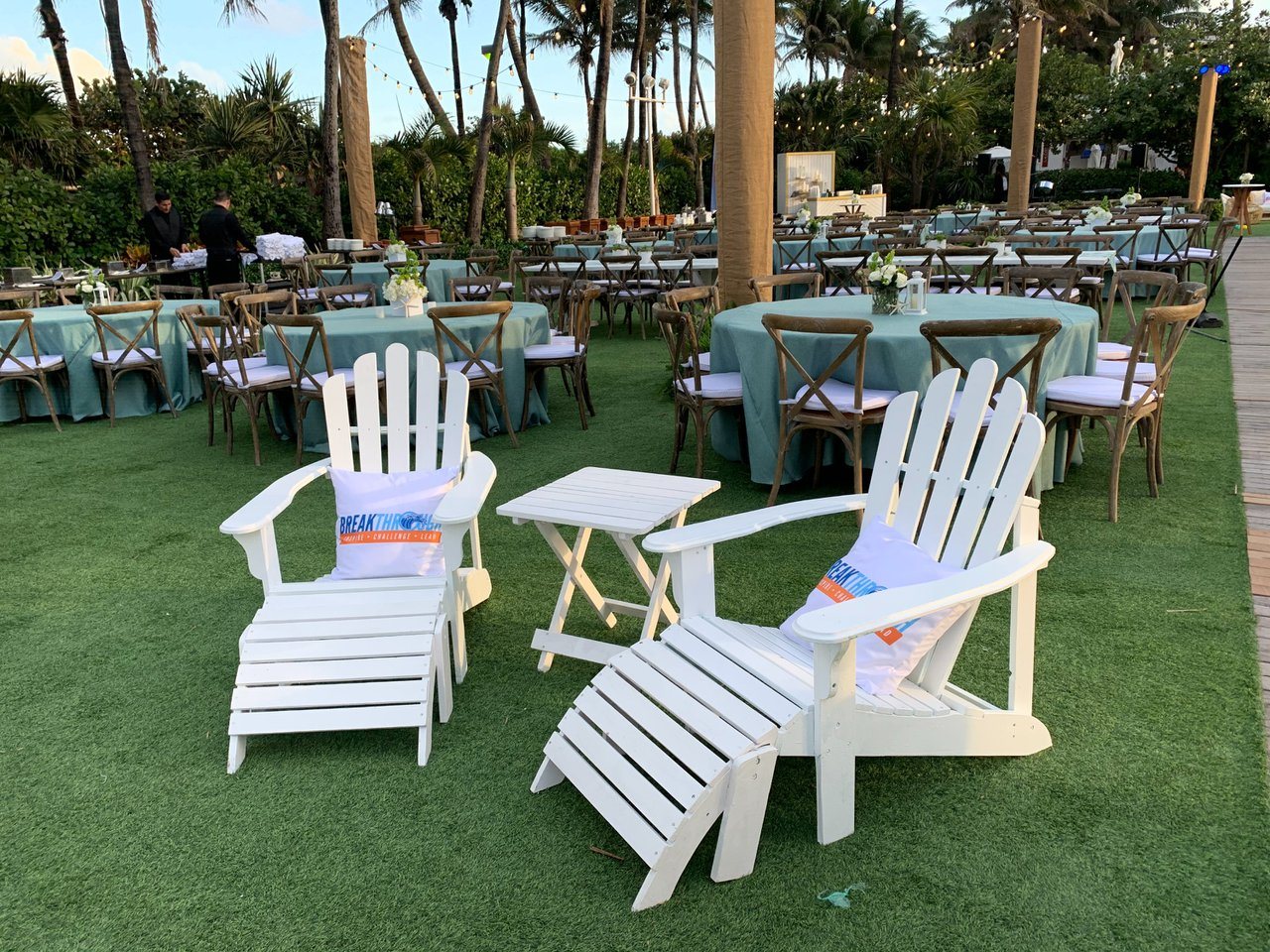 Seaside Soiree photo White Adirondack chair set with custom branded pillows.jpg