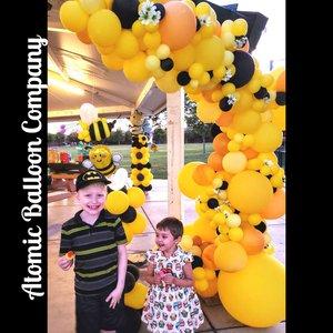 Hakim's First BEEday Celebration photo Atomic BEEday Birthday Balloon Decor 18.jpg