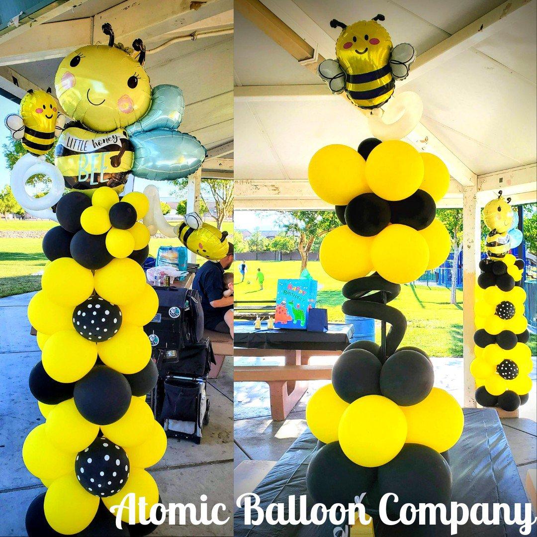 Hakim's First BEEday Celebration photo Atomic BEEday Birthday Balloon Decor 17.jpg
