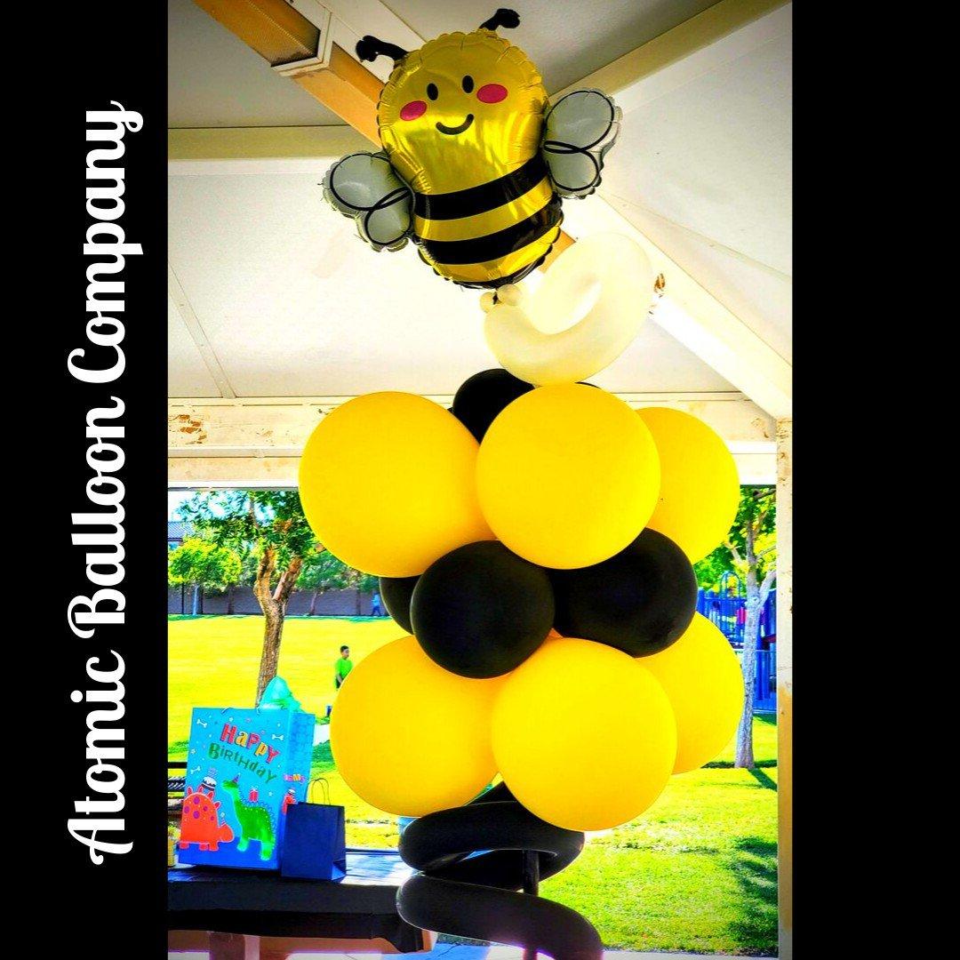 Hakim's First BEEday Celebration photo Atomic BEEday Birthday Balloon Decor 20.jpg