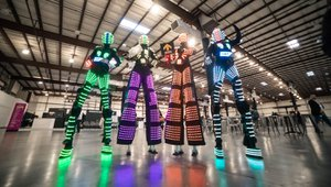 Build Things That Matter Powerful Party photo LED Stilt Walking Robots for Company Meeting Kick Off Party.jpg