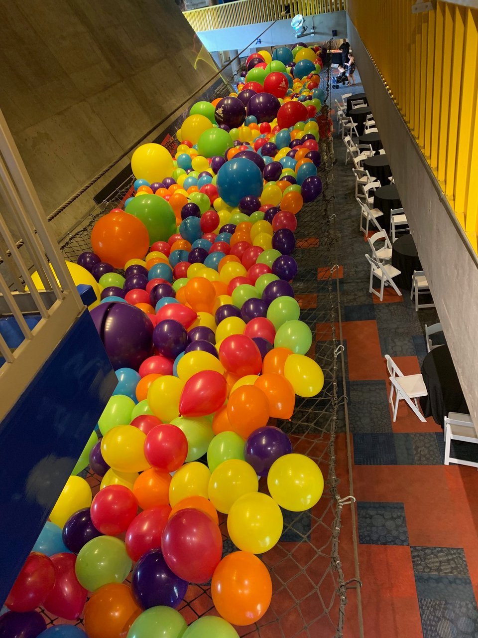 Employee Back to School Drive photo science center balloons in net.jpg