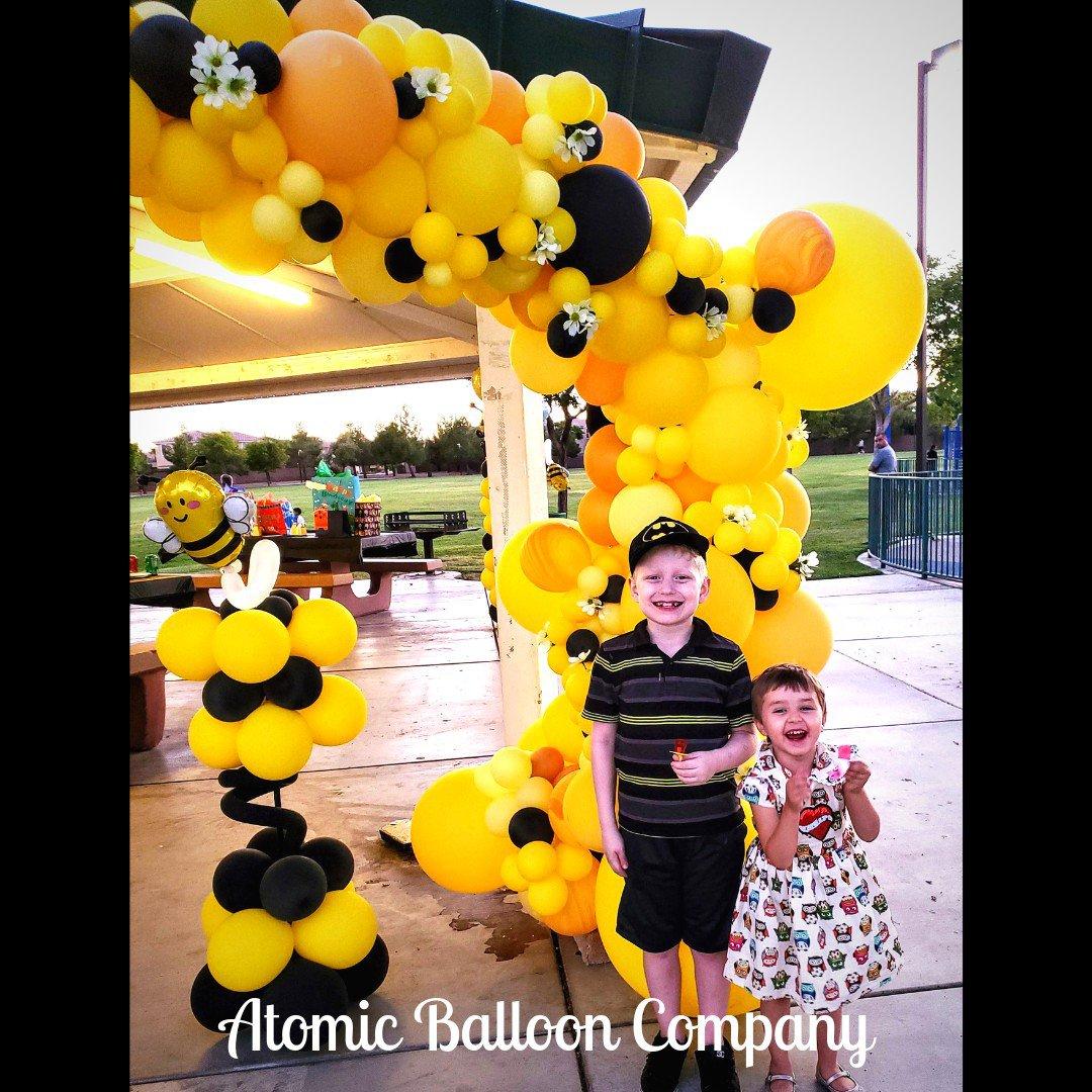 Hakim's First BEEday Celebration photo Atomic BEEday Birthday Balloon Decor 7.jpg