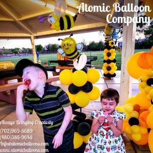 Hakim's First BEEday Celebration photo Atomic BEEday Birthday Balloon Decor 24.jpg