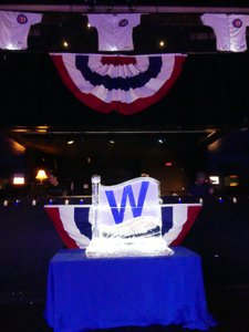 Cubs World Series Player Party photo P1010836- W Flag Ice Decor.jpg