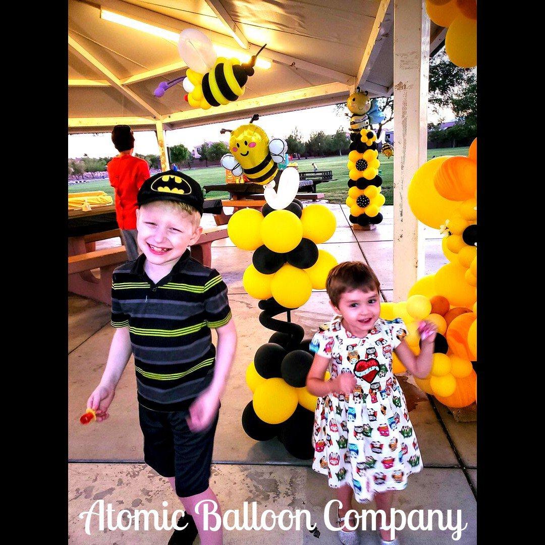 Hakim's First BEEday Celebration photo Atomic BEEday Birthday Balloon Decor 2.jpg